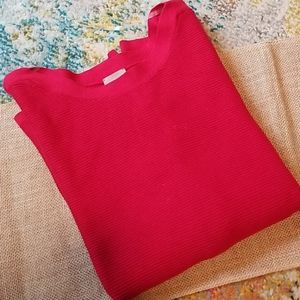 NWT Chico's size 3 (XL/16) red ribbed sweater